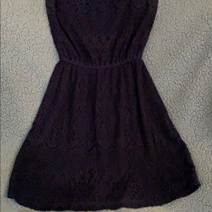 Lace navy blue dress.
